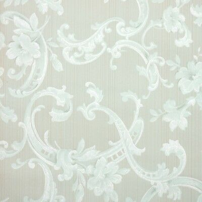 1930s Floral Vintage Wallpaper Mint Green And White Flowers And Damask Swirls