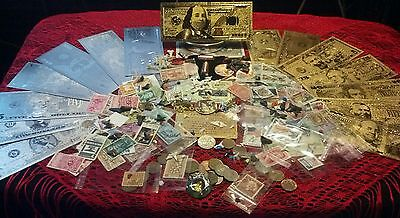 101Pc.LOT~.999 GOLD&SILVER BANKNOTES+COPPER-BULLETS+STAMPS&COINS+FOSSILS+MORE!!~