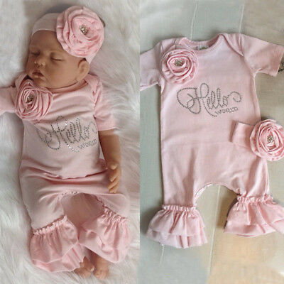 Newborn Baby Girl Flower Romper Bodysuit Jumpsuit Headband Outfit Clothes UK