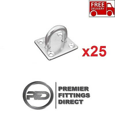 25 x EYE PLATES 5MM STAINLESS STEEL SCREW ON/WALL MOUNT/STABLE/YARD/HORSEBOX