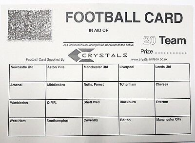 100 x 20 TEAM FOOTBALL FUNDRAISING SCRATCH CARDS GREAT QUALITY