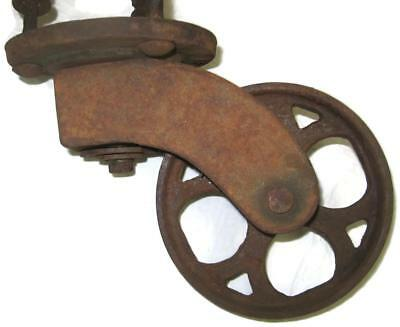 Vintage Cast Iron 5-3/4 Inch Caster Wheel Factory Coffee Table Cart - Industrial