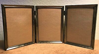 Tri Fold Hinged Picture Frame 5 X 7 Brass Picture Photo Vintage Late 50s