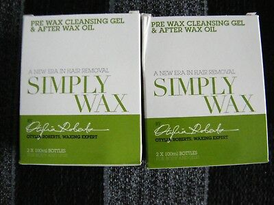 Simply Wax Pre-Wax Cleansing Gel & After Wax Oil Set  x2 Sets All In Price £8.99