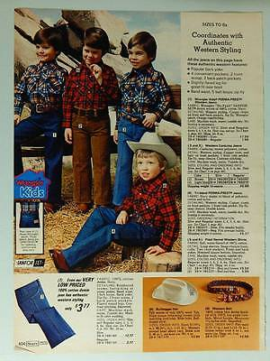 Sears Boys' Western Style Clothing Vintage 1978 Catalog Page Ad - Wrangler Kids