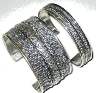 Vintage Lot of 2 Silver over Solid Brass Cuff Bangle Bracelets Tribal India