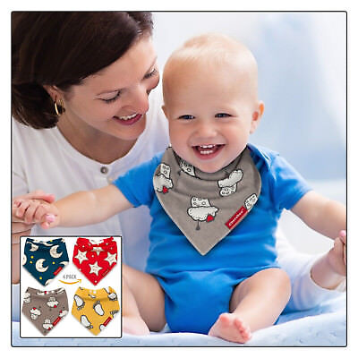 Baby Bibs Bandana Drool Bib 4 Pack by Cheraboo Gift Set Reversible & Soft