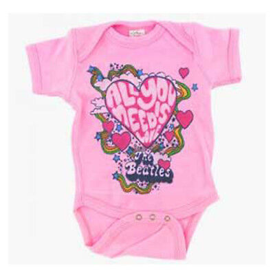Beatles All You Need Is Love Licensed NWT Baby One-Piece Bodysuit - Pink - M