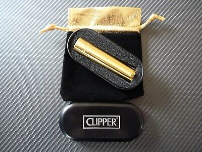 24Ct Gold Plated Metal Clipper Cigarette Lighter Refillable Gas Flint, Gift Box