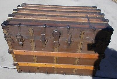 KW-611 Antique L.Goldsmith & Son Flat Top Steamer Trunk NEVER BREAK STEAMPUNK