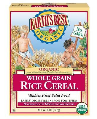 Earth's Best Organic Whole Grain Rice Cereal, 8 Ounce (Pack of 12) EXP: APR 19