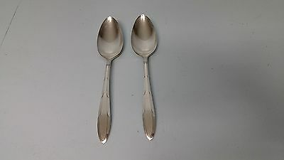 2  REVERIE Nobility Plate Large Serving Table Spoons 1937 Oneida Silver Art Deco