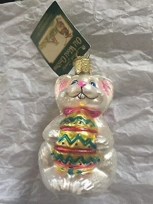 Old World Christmas The Glass Easter Bunny w/ Pink Bow & Egg Ornament FREE SHIP