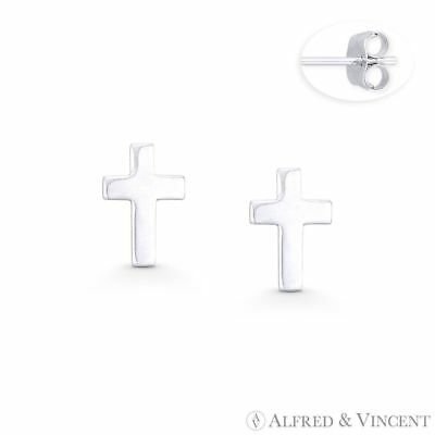 Latin Cross Christian Charm 9mmx6mm Stud Earrings in Solid .925 Sterling Silver