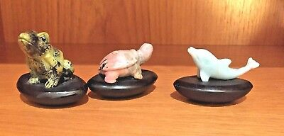 Stone Carving Frog Turtle dolphin with Rounded Bottom set of three