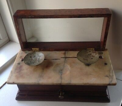Antique Scale Marble Top Flip Top Apothecary