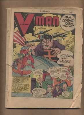 V…-Comics #2 INCOMPLETE Fox Features 1942 Golden Age War V-Man Foster (c#17707)