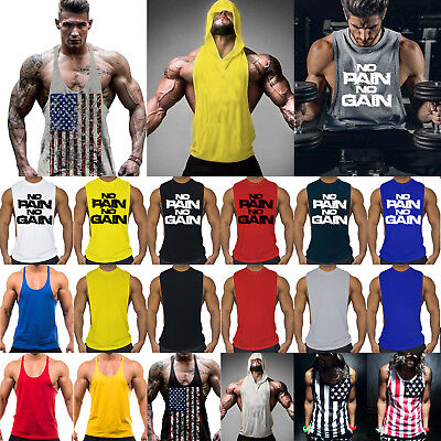 Men Workout Vest Tank Top Bodybuilding Gym Muscle Fitness Football Shirt Singlet