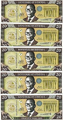 LOT Liberia, 5 x 20 dollars, 2009, P-28-New, UNC