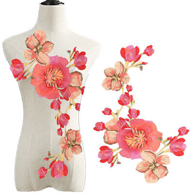 Blossom Long Flower Applique Clothing Embroidery Patch Sew On Sew Cloth DIY