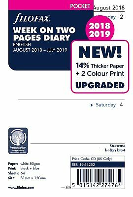 Filofax 2018-2019 Pocket Size Academic Mid Year Diary Week on Two Pages 19-68252