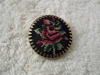 Black Red Rose Cloth Needlepoint Pin (D68)