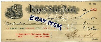 1916 ROGERS TEXAS STATE BANK check SECURITY NATIONAL BANK Dallas U.S. BANK NOTE