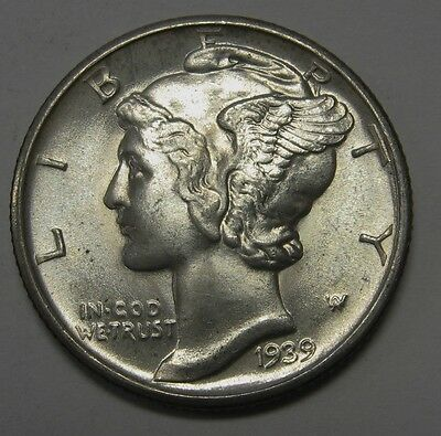 1939-D Mercury Head Silver Dime Grading Choice Uncirculated Nice Original Coins