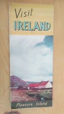 1951 Visit Ireland Fold Out 2 Sided Travel Poster Irish