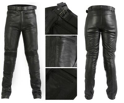 Texpeed Mens Black Leather Motorcycle Motorbike Touring Jeans Trousers CE Armour