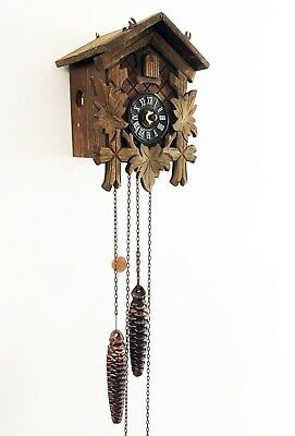 Charming Vintage HARZER Wooden Cuckoo Clock - Spares / Repair. With Weights etc