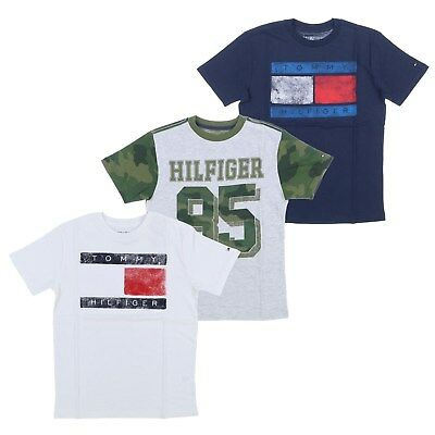 Tommy Hilfiger Kids T-Shirt Boys Graphic Tee Short Sleeve Crew Neck Top Flag New