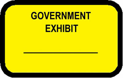 GOVERNMENT EXHIBIT Labels Stickers Yellow  492 per pack