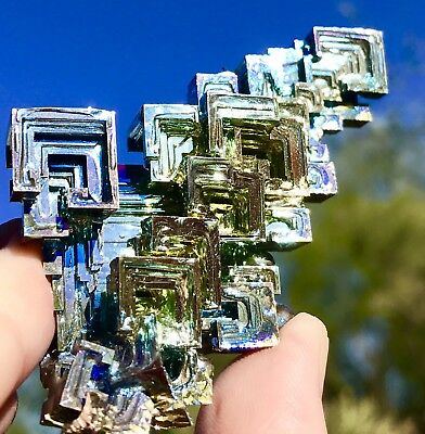 Iridescent Bismuth Rainbow Hopper Crystal Cluster Mineral Lg Specimen Colorful