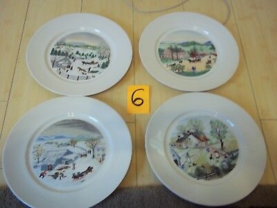 4 Vntg Atlas China Grandma Moses 1St Edition Collectible Plates Ea Different 10""