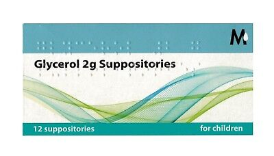Glycerol 2g Suppositories Children Size 12 Pack Glycerin Laxative Constipation