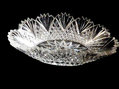 Antique Vintage American Brilliant Period Cut Crystal Glass Lace Low Oval Bowl