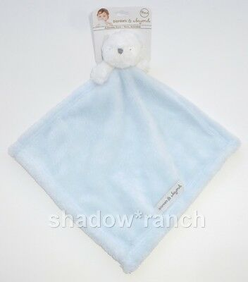 NWT Blankets & Beyond White Bear Security Lovey Nunu Light Blue Closed Eyes
