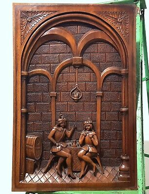 Hand Carved Wood Panel Solid Heavy Antique French Couple Gothic Scene Sculpture