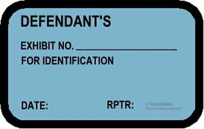 DEFENDANT'S EXHIBIT NO. FOR ID Labels Stickers Blue  492 per pack