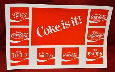 "Vtg 1982 ""NOS"" (2 ct.)Postcard Foreign Coca Cola Advertising Stickers Post Card"