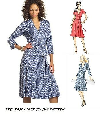 EASY VOGUE V8379 Misses Dvf Style Wrap Front Dress Sew Pattern Miss ...