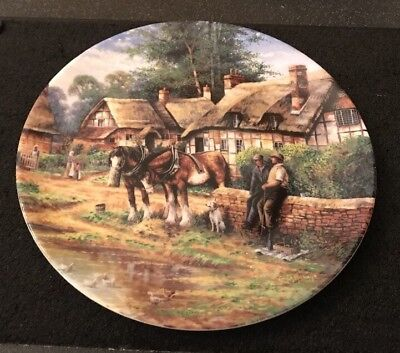 Wedgwood Lunch Break  - Country Days - Collectors Decorative Plate 1992 Horses