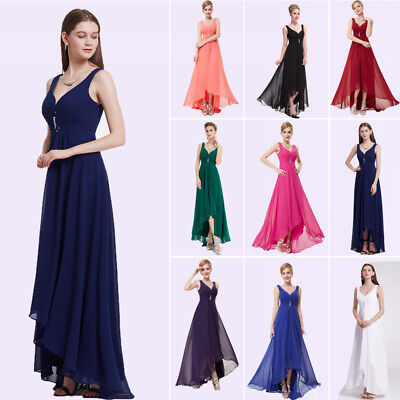 Ever-pretty UK V-Neck Evening Party Gowns High Low Bridesmaid Dresses Long 09983