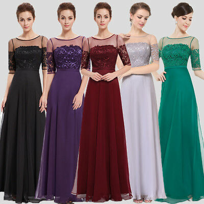 UK Womens 2018 Long Prom Short Sleeve Lace Maxi Formal Party Evening Dress 08459