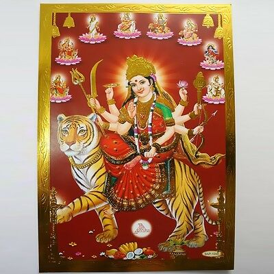 Altarpiece Durga, Embossing India Hinduism MA AMBA Picture Guru OM Puja 4