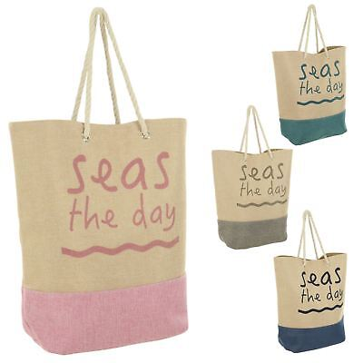 Large Canvas Style Jute Beach Bag Seas The Day Slogan Holiday Pool Shopper Tote