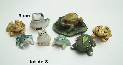 lot de 8 figurines grenouilles, bibelot, collection,frog, kikker  Gtp14-13