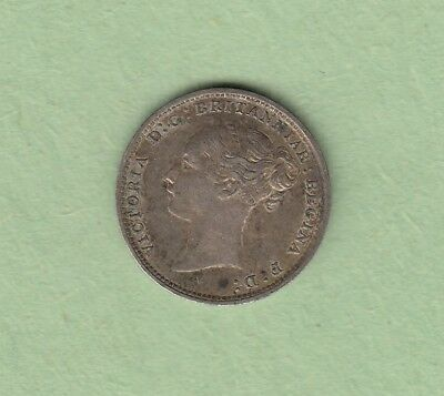 1881 Great Britain 3 Pence Silver Coin - VF