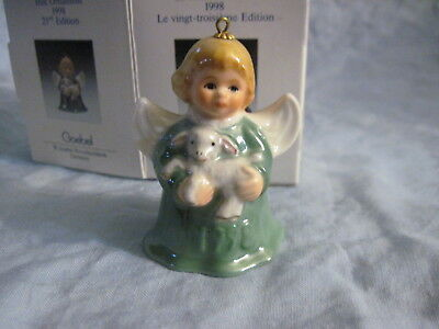 1998 Goebel ANGEL BELL ORNAMENT Green with Lamb in Box FREE SHIPPING